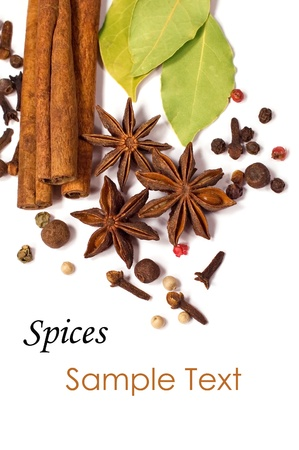 close-up of spices isolated on white background