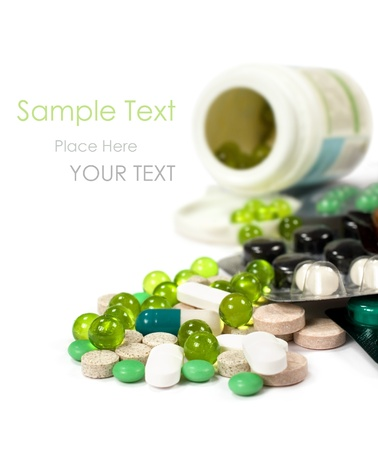 Tablets and pills Isolated on white background