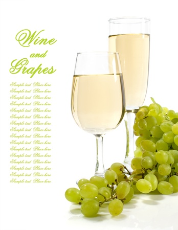 white wine and grapes on white background
