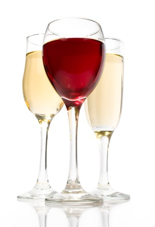 sommeliers: red and white wine in glasses on a white background Stock Photo