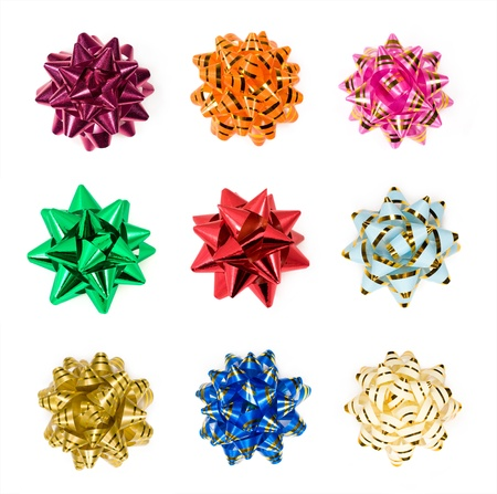 set of colorful bows isolated on white photo