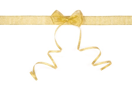 golden ribbon and bow isolated on white background 版權商用圖片