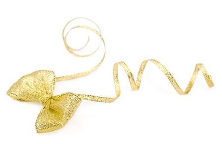organza: golden bow close-up isolated on white Stock Photo