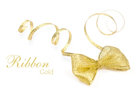 golden bow isolated on white with copy space photo