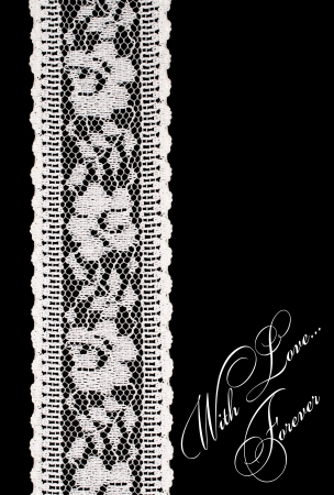 sewn up:  vintage white lace on a black background