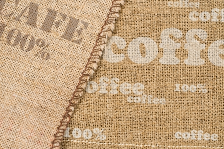 background with texture of burlap and inscriptions  photo