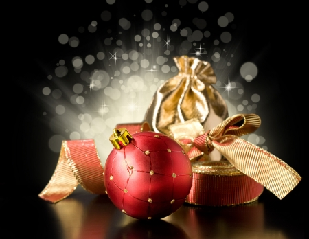 Christmas still life with Christmas decorations, ribbon and gift photo