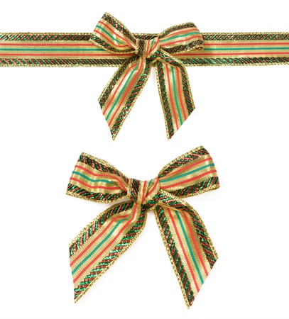 Christmas ribbon and bow isolated on white Stock Photo - 16169213