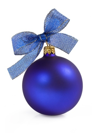 Blue Christmas ball with bow isolated on white