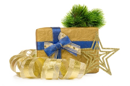 Christmas gift with decorations on a white background Stock Photo - 16263690