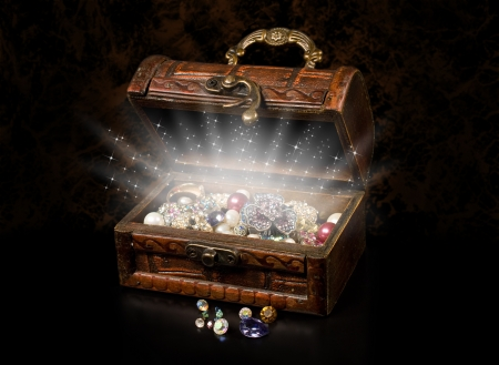 antique chest of pirate treasure on a dark background