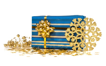 gift box with golden decorations isolated on white Stock Photo - 16450254