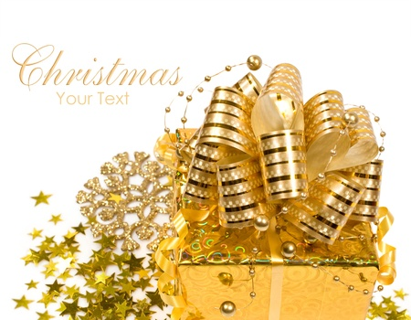 Golden Christmas gift and decoration with copy space Stock Photo - 16550639