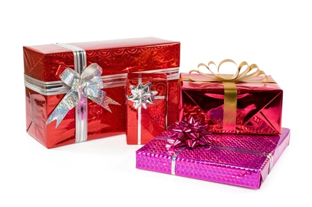 colorful gift boxes isolated on white Stock Photo - 16570349