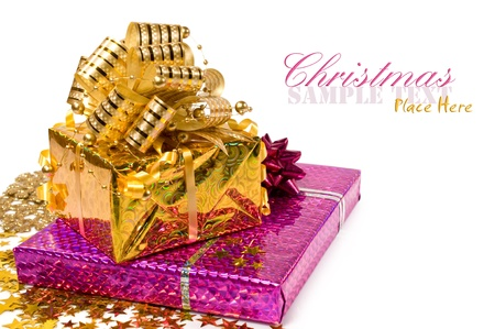 Christmas presents and confetti isolated on white
