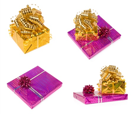 set of gift boxes isolated on a white