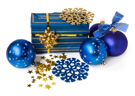 gift box , Christmas blue balls and confetti isolated on white Stock Photo - 16671576