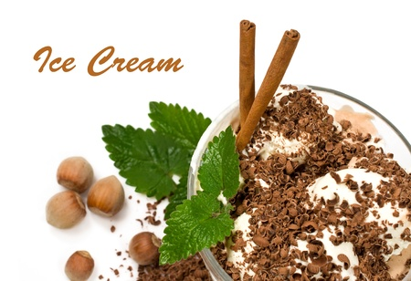 ice cream with nuts, mint, cinnamon and chocolate close up  photo