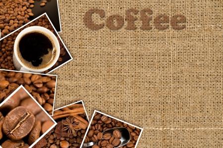 Collage mit Fotos von Kaffee auf einem Hintergrund aus Sackleinen Standard-Bild - 16759422