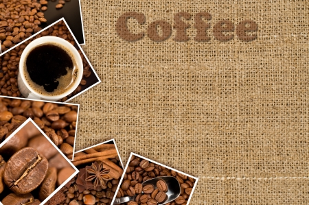 collage with photos coffee on a background of burlap