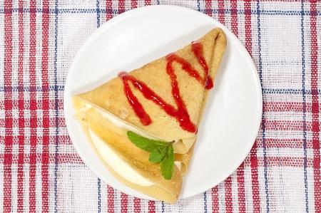 pancake with cream cheese and strawberry jam Stock Photo - 17222801