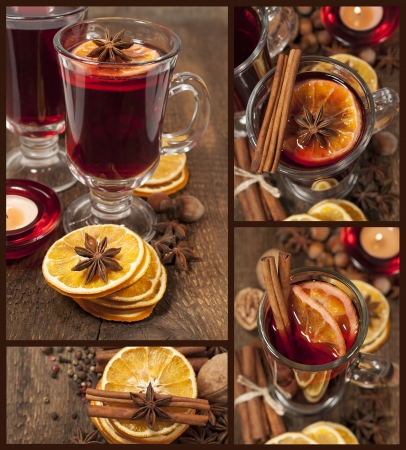 mulled wine with star anise, cinnamon and dried oranges