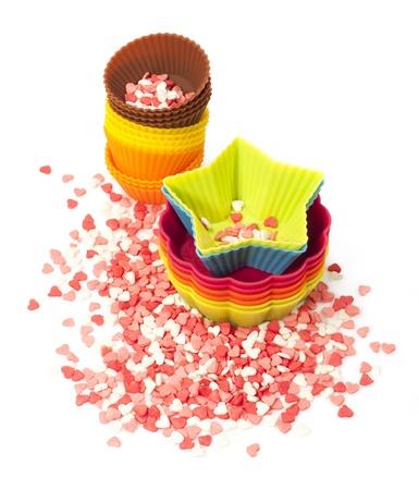 ケーキやお菓子の粉のシリコンモールド