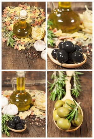 set of ingredients for cooking pasta on the wooden background  photo