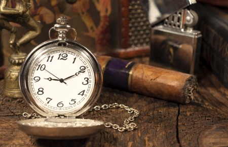 still life with vintage pocket watch  photo