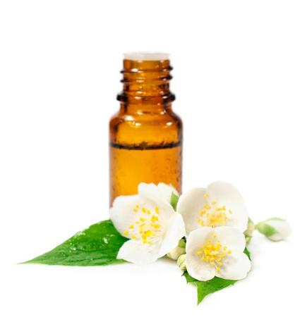 エッセンシャル オイル、ジャスミンの花は白で隔離されるのボトル