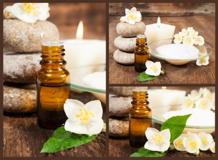 set of still lifes with aromatic oils , blooming jasmine , candle and stones
