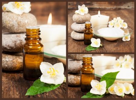 bodegones: conjunto de naturalezas muertas con aceites arom�ticos, flor de jazm�n, velas y piedras