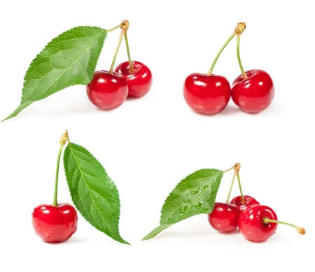 Set of cherries isolated on white