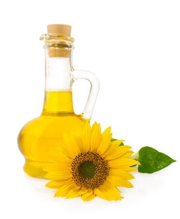 Sonnenblumenöl mit Blume auf weißem isoliert