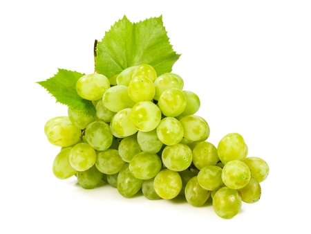 bunch of ripe green grapes isolated on white photo