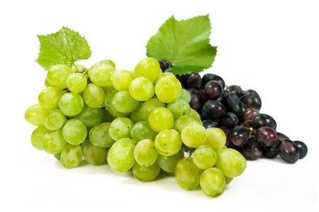 bunch of ripe green and red grapes isolated on white photo