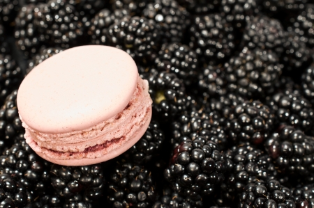 background with ripe blackberry and macaroon close-up photo