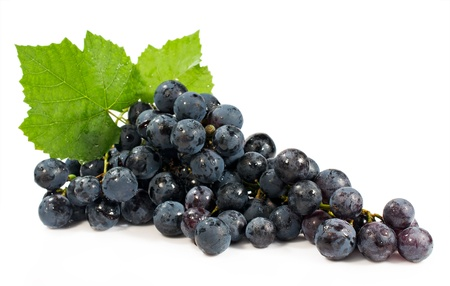 bunch of blue grapes isolated on white background photo
