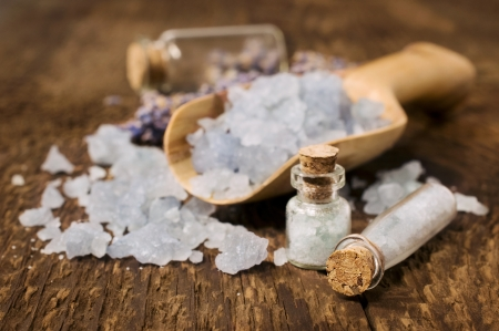 sea salt with lavender on a wooden background Stock Photo