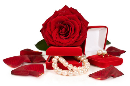 pearl necklace and earrings in a red gift box with a rose and petals isolated on white photo