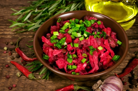 Beet salad with ingredients close up Stock Photo