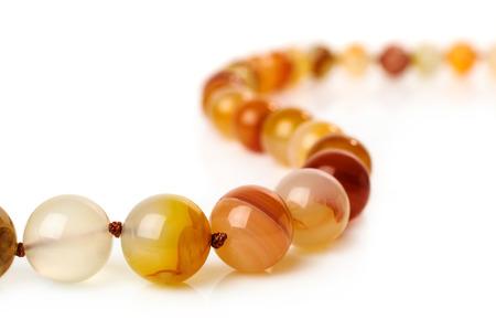 carnelian: Carnelian necklace isolated on white