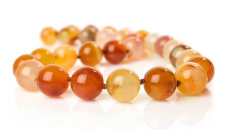 carnelian: Carnelian necklace isolated on white