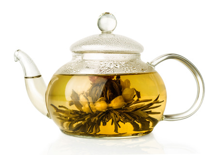Blooming green tea in glass teapot isolated on white photo