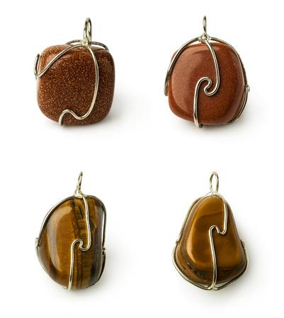aventurine: set of stones pendants: aventurine and tiger eye