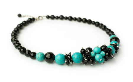 black onyx: necklace of turquoise and black onyx isolated on white Stock Photo