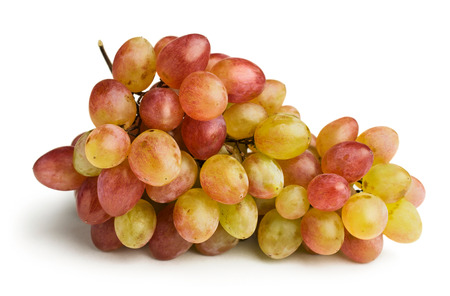 ripe pink grapes isolated on white photo