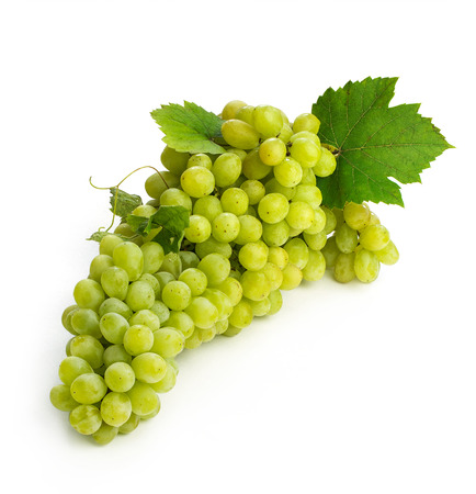 sultanas: large brush of green grapes isolated on white