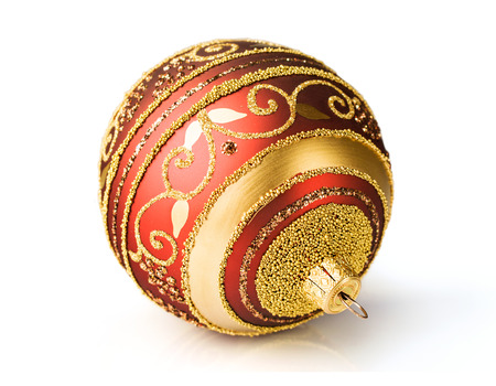 gold ornament: red and gold Christmas ball isolated on white Stock Photo