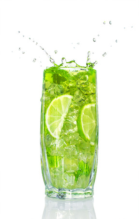 refreshing cocktail with mint and lime isolated on white photo